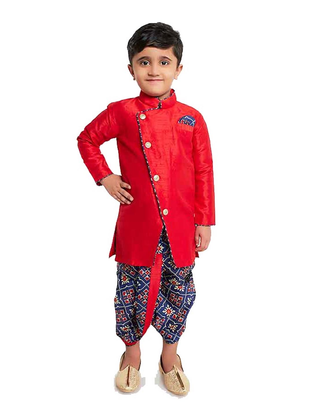 [Available] Red Sherwani with Navy Printed Dhoti Set [1 - 10yrs]