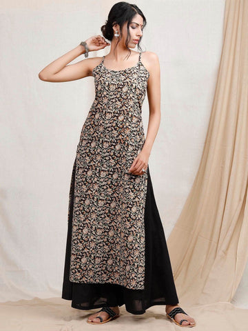 [Avaliable] Flower Printed Black Cotten Kurta
