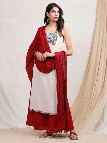 Designer White Kurta & Red Palazzo with Red Dupatta [Available] - ALL SIZES