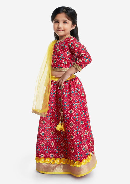 Red Printed Top With Lehenga & Dupatta Set [Pre-Order]