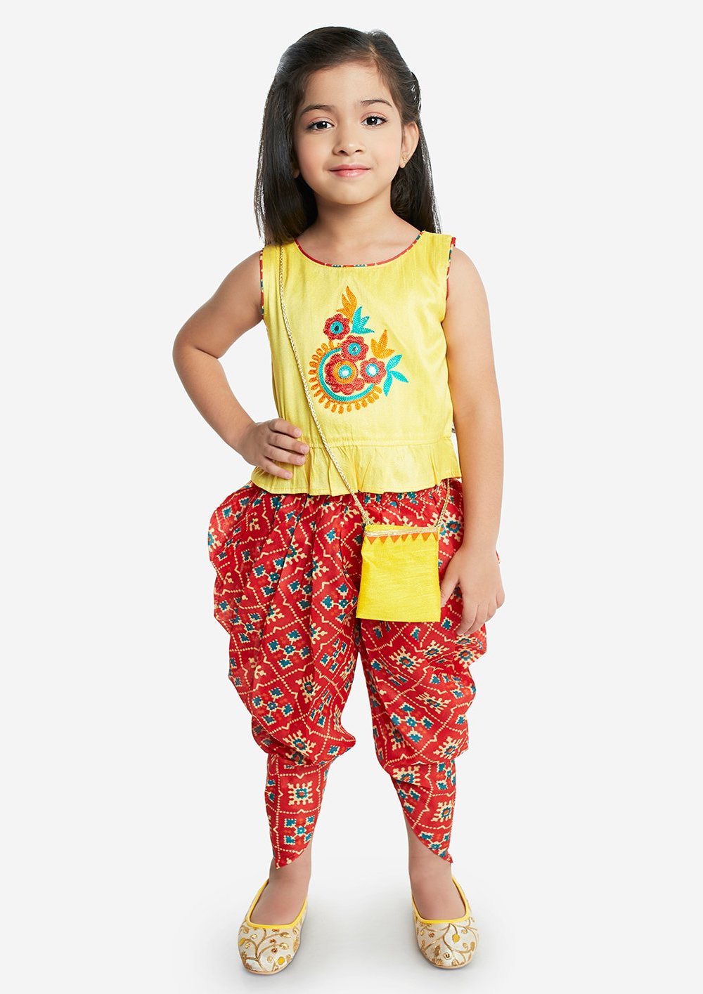 [Pre-Order] Yellow Floral Top And Red Dhoti Pants