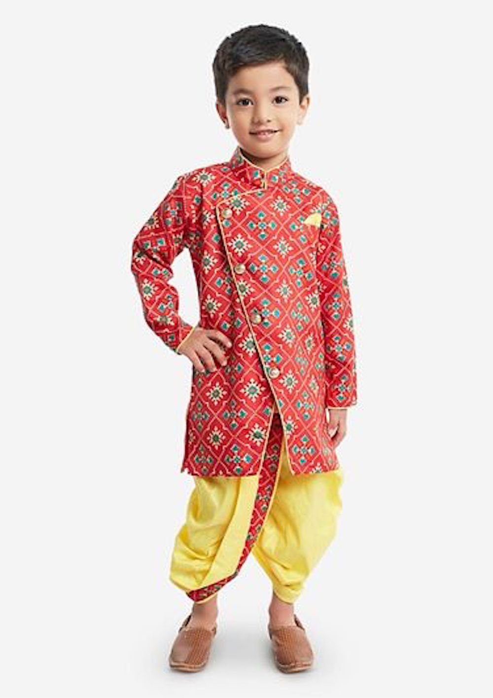 [Pre-Order] Red Top with Printed Yellow Dhoti Pants
