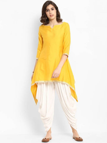 [Available] Yellow Slit Cut Design Kurta with White Dhoti Pants Set