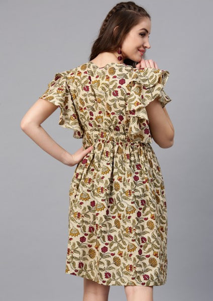 Beige & Maroon Floral Printed Frilled Dress [SoldOut]