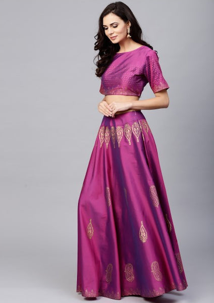 Purple Gold Block Printed Lehenga & Choli With Green Dupatta [Pre-Order]