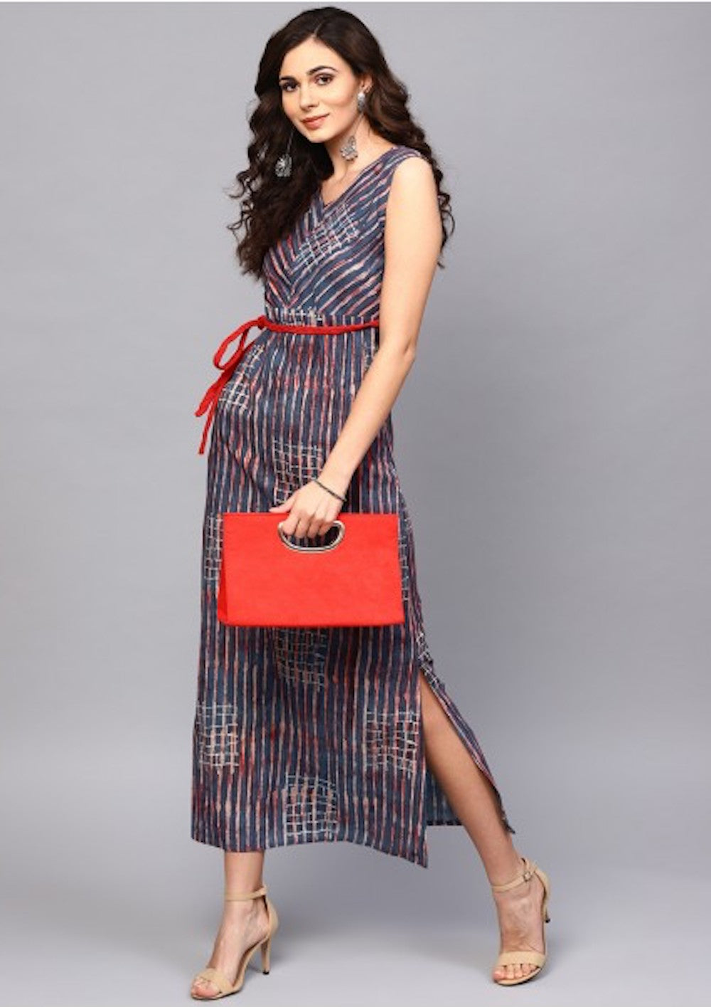 Blue & Red Sleeveless Dress with Belt
