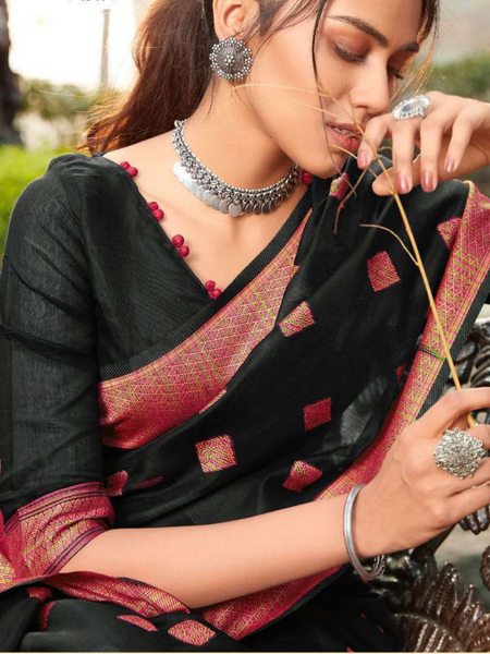ANAYA: Safforn Red & Black Saree