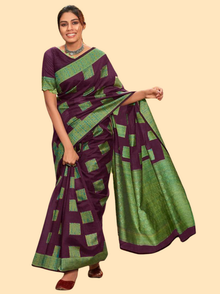 ANAYA: Lime Green & Imperial Purple Saree