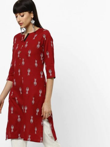 [Available] Red Kurta with Digital Prints