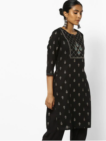 [Available] Black Kurta with Floral Prints