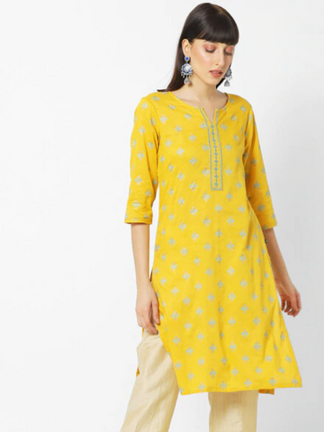 [Available] Yellow Kurta with Floral Prints