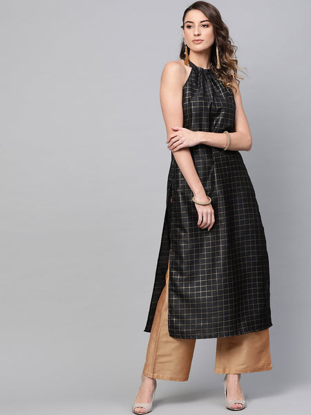 [Available] Black Straight Cut Printed Kurta