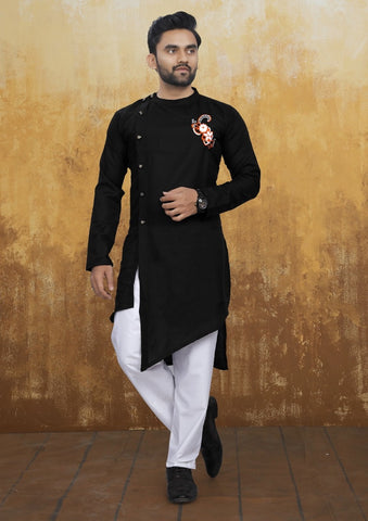 [Available] Men's Cross Style Black Kurta with Embroidery Set