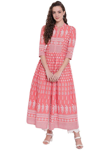 [Available] Pink Printed Flared Kurta [sizes: up to 6XL]