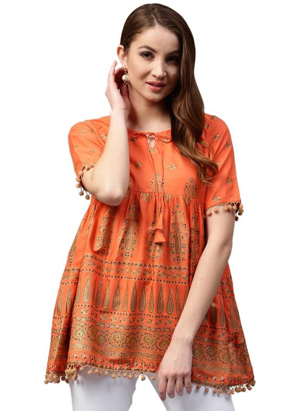 [Available] Orange Ethnic Top with Dangling Lace Details - Last 2 pieces