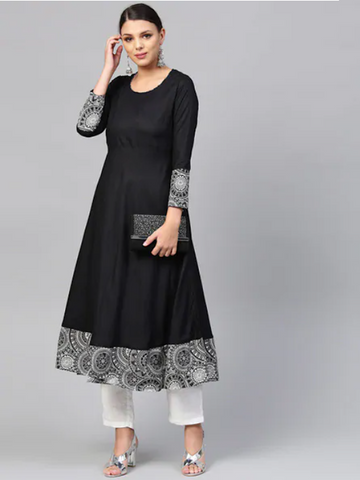 [Available] Black Anarkali with Block Printed Border [sizes: up to 6XL]