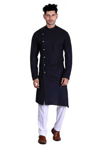 Man Designer Long Black Kurta [PreOrder]