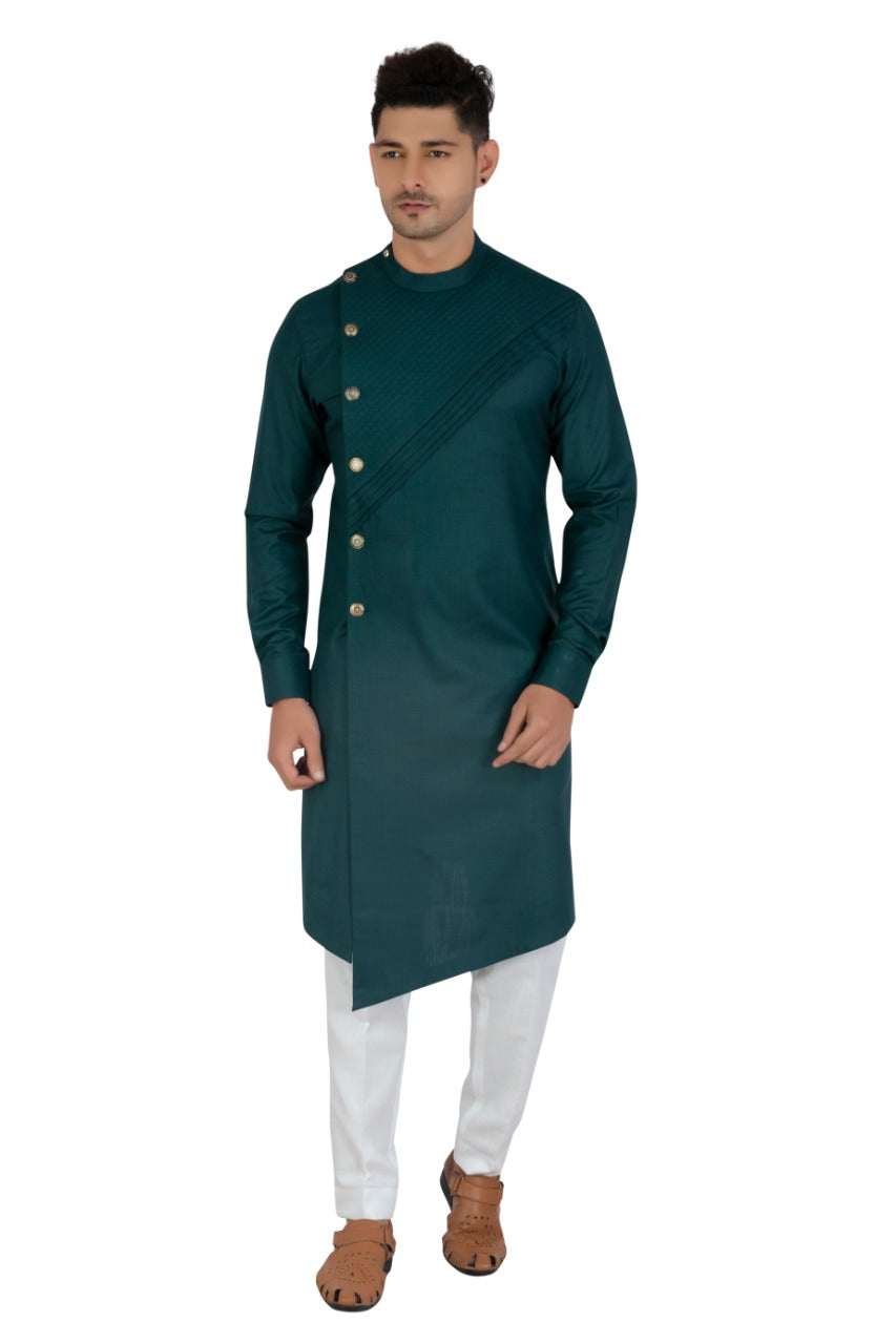 [Available] Man Side Slit Cut Long Green Kurta [38, 40]