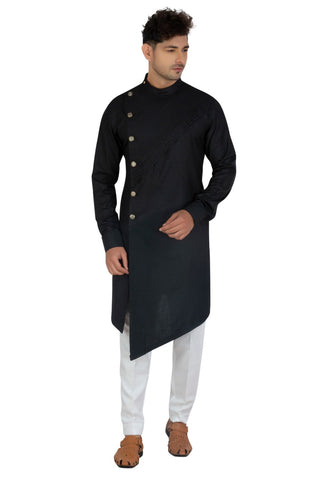 [Available] Man Side Slit Cut Long Black Kurta