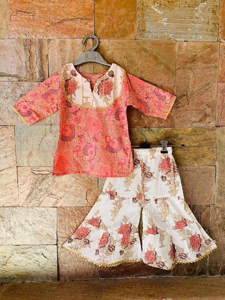 [Available] Girls Pink Designer Top with White & Pink Palazzo Set [ALL SIZES]