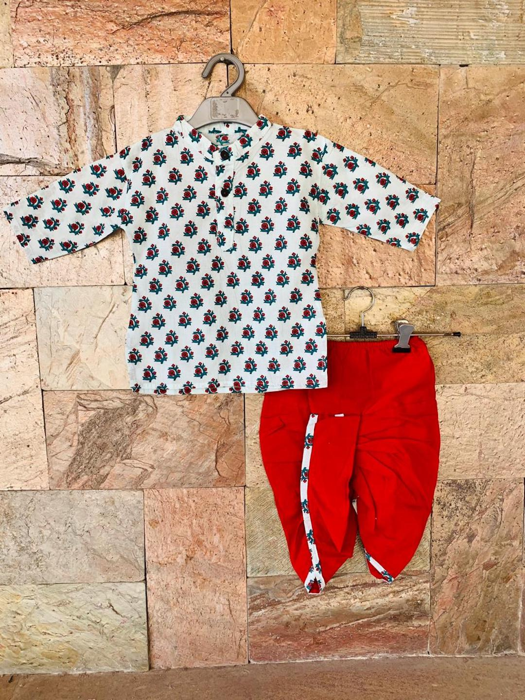 [Available] Boys Printed White Kurta with Red Dhoti Pants Set [ALL SIZES]