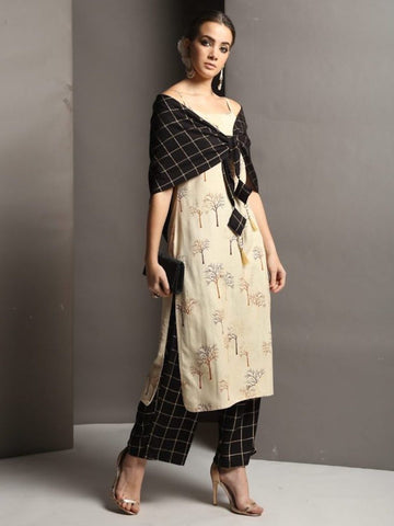 [Available] Beige Printed Straight Kurta with Black Palazzo and Shawl