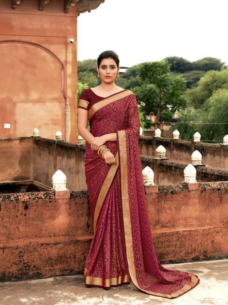 AVANTIKA: Maroon Patterned Designed Saree with Solid Colour Blouse [SoldOut]