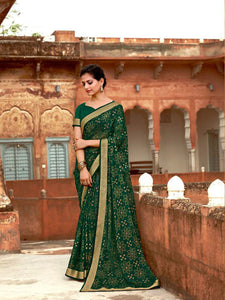 AVANTIKA: Green Patterned Designed Saree with Solid Colour Blouse [SoldOut]