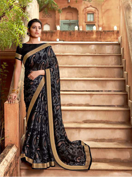 AVANTIKA: Black Floral Designed Saree with Solid Colour Blouse [soldout]
