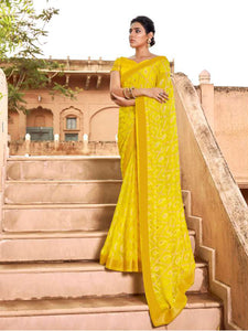 AVANTIKA: Yellow Patterned Designed Saree with Solid Colour Blouse [Available]