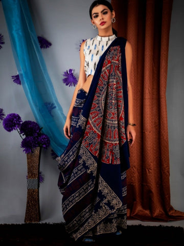 Black MulMul Saree with White Printed Blouse