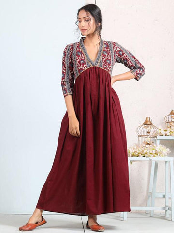 [Available] Maroon Blossoms Flare Dress