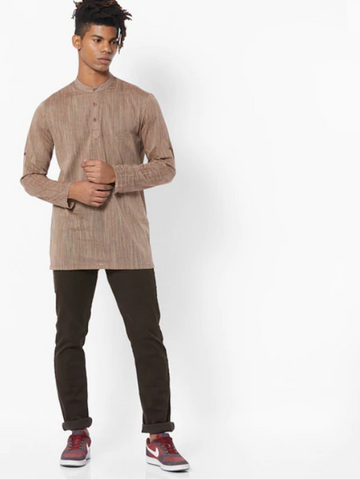[Available] Men Brown Short Kurta with Collar