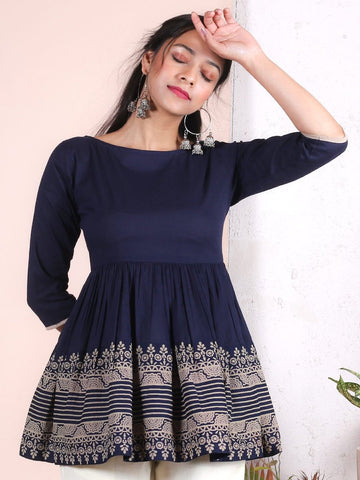 [Available] Navy Blue Top with Rich Border [XS] - Last Piece
