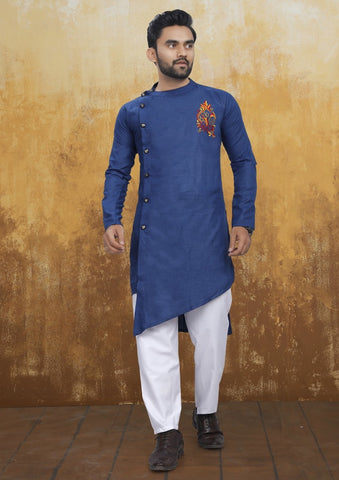 [Available] Men's Cross Style Navy Blue Kurta with Embroidery Set