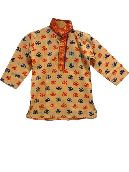 [Available] Boys Red & Beige Printed Kurta Set (3-piece set)