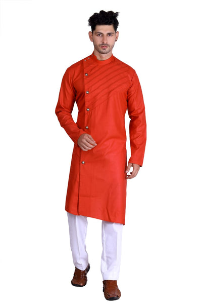 Man Designer Long Orange Kurta [Pre-Order]