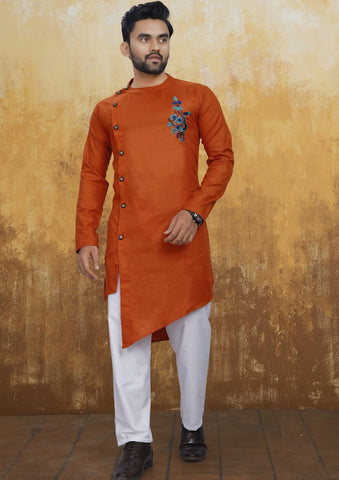 Men's Cross Style Orange Kurta with Embroidery [Pre-Order]