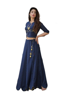 Designer Blue Lengha with Accessories [Pre-Order]