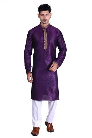 [Available] Men Silk Purple Kurta with Pants [Size: 40]