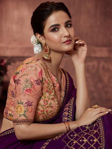 Party Wear : Embroidered Purple Saree with Designer Blouse [SoldOut]