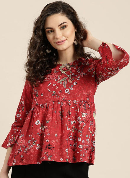 [SoldOut] Red Floral Top with Frill Hem Sleeves