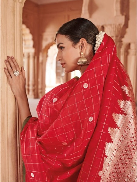 Mami Collections: Red Checkered Soft Silk Saree with Rich Silver Pallu Blouse [Available]