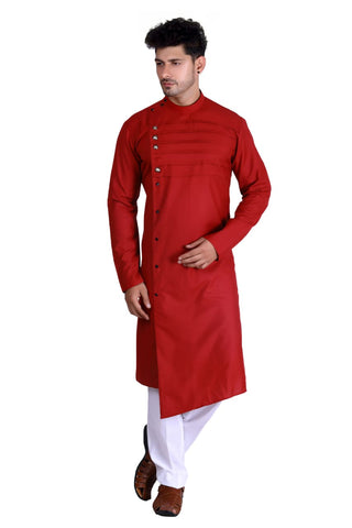 [Available] Man Designer Long Red Kurta