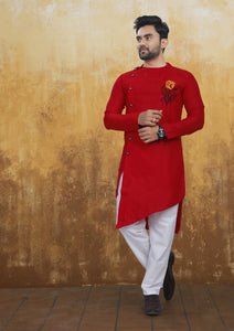 [Available] Men's Cross Style Red Kurta with Embroidery Set