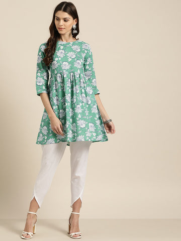[Available]  Pastel Green Floral Print Short Kurta & Pants Set