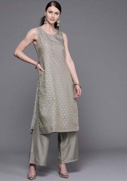 [Available] Metallic Grey & Gold Sleeveless Kurta With Palazzo