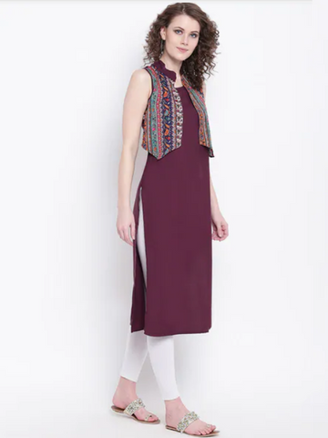 [Available] Sleeveless Maroon Kurta with Floral Vest