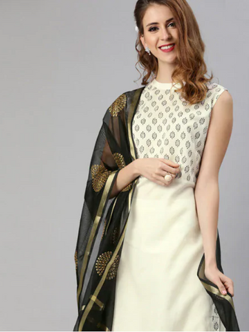 [Available] White Sleeveless Kurta Suit with Black Dupatta