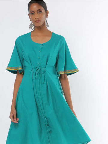 [Available] Turquoise Kurta with flared sleeves and drawstring
